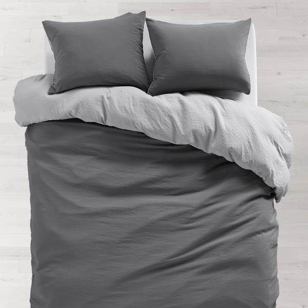 Light Grey Dark Grey Soft Wash Reversible Duvet Cover And Sham Set Grey Bedding Bed Linens Luxury Bed Linen Design