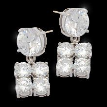 """""""2x Gorgeous"""" Brilliant AAA quality cubic zirconia meets all expectations for the woman who appreciates fine fashion jewellery.  Scrumptiously crafted to take her well into the future with its stunning minimalist look.    Earrings with 14k posts or adjustable clips   Nickel and lead free £56"""