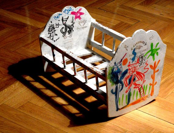 Artist: Jack Babiloni. Title: CAT CRADLE II, Oil and mixed media on wood. Constructed and Hand Painted with Zoomorphic Motifs. Cat Crib Cradle for little cat (or doll). OOAK Piece.