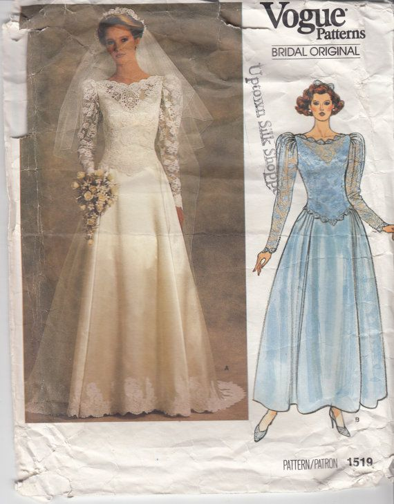 Wedding Dress Pattern 80s VOGUE BRIDAL GOWN Floor Length With Train Princess Seams Low Waist Petticoat Size 10 Bust 325 83 Cm V 1519