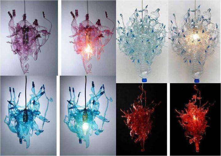 Mais algumas imagens para inspirar quem gosta de reciclagem, todas achadas na net.Feitas com pet e garrafas de agua e embalagens de plastic...