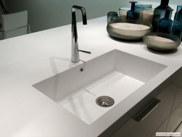 Custom Made Square Staron Solid Surface Sink, With Staron Benchtop.