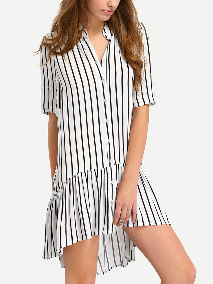 Vertical+Stripe+Botton+Down+Drop+Waist+Dress+27.99