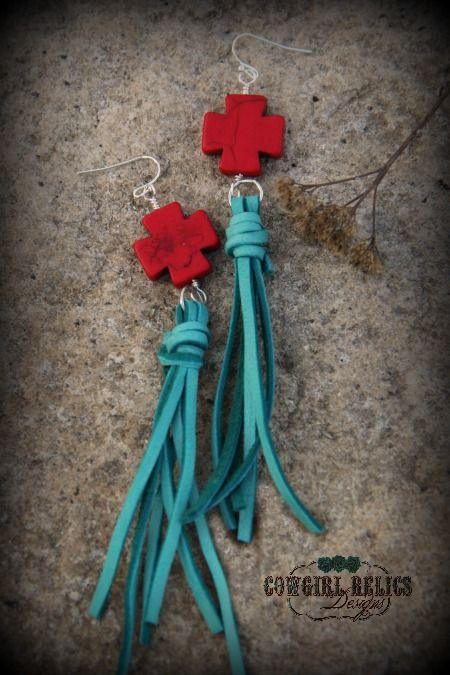 Canyon Gypsy Leather Tassel Western Earrings, $16.00, www.cowgirlrelics.com