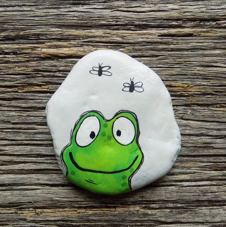 Happy Frog Painted Rock, Decorative Accent Stone, Paperweight