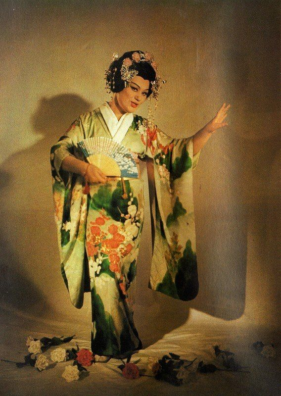 "Maria Bieşu in the party of Cio-Cio San (Butterfly) in the Opera ""Madama Butterfly"" by Giacomo Puccini. Debuted in 1963. Мария Биешу в партии Чио-Чио-сан (Баттерфляй) в опере «Мадам Баттерфляй» Джакомо Пуччини. Дебютировала в 1963 г."