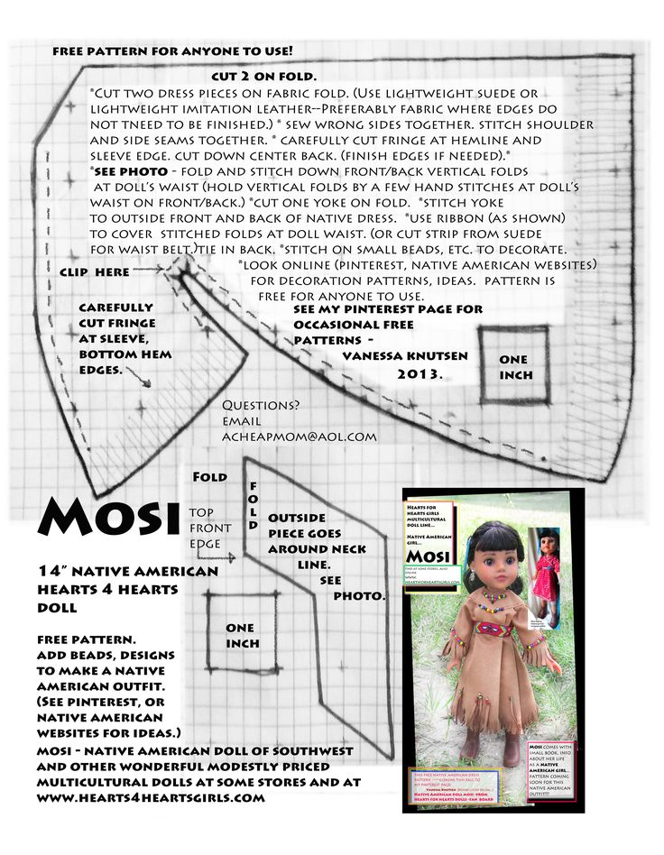 "MOSI is a 14"" Native American doll for girls. Comes with small book about her life, culture, challenges, dreams. She wears the red dress & boots (shown in small photo). My pattern free for ANYONE to use. Look at native american websites for bead patterns, other decorative ideas. $ donated to World Vision for each Hearts4Hearts doll purchased. Inexpensive quality doll!"