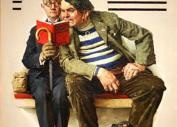 Two Men Reading Detective Stories  by Norman Rockwell   aseriesofsmallthings.com: Detective Stories, Men Reading, Posts Covers, Norman Rockwell, Art Norman, Art Prints, Saturday Evening Posts, Gicl Prints, Plot Thickening