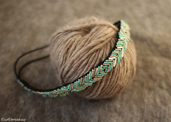 Hey, I found this really awesome Etsy listing at https://www.etsy.com/listing/217363965/turquoise-and-gold-headband-women-beaded
