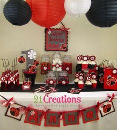 ladybug first birthday party ideas | Ladybug baby showers, Centerpiece ideas and Centerpieces baby showers ...