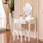 4 Drawer & Oval Mirror Vanity Makeup Dressing Table Set w/Stool Wood Desk White