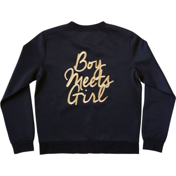 Boy Meets Girl Embroidery Bomber Jacket ($69) ❤ liked on Polyvore featuring outerwear, jackets, embroidery jackets, shiny jacket, gold bomber jacket, gold jacket and embroidered bomber jackets