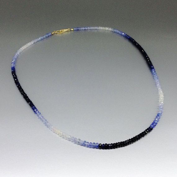Check out Ombre necklace of shaded blue Sapphire with 14K gold clasp - gift idea on gemorydesign