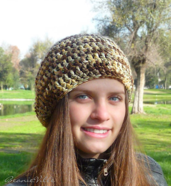 Slouchy beanie hat  LOW DESERT  chunky  crochet  by BeanieVille, $19.00