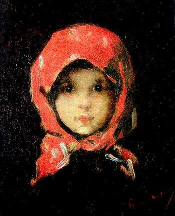 The Little Girl with Red Headscarf - by Nicolae Grigorescu (1838 - 1907),  Romanian