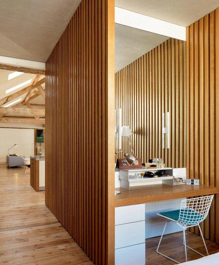 Wooden slat wall, following through from kitchen - Transforming a Warehouse   Homebuilding  Renovating