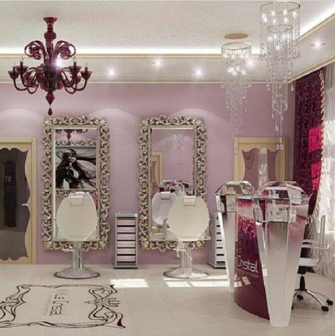 Love the purple mauve walls, the purple chandelier and the big ass ornate floor to ceiling wall mirrors! So elegant, sassy and feminine!