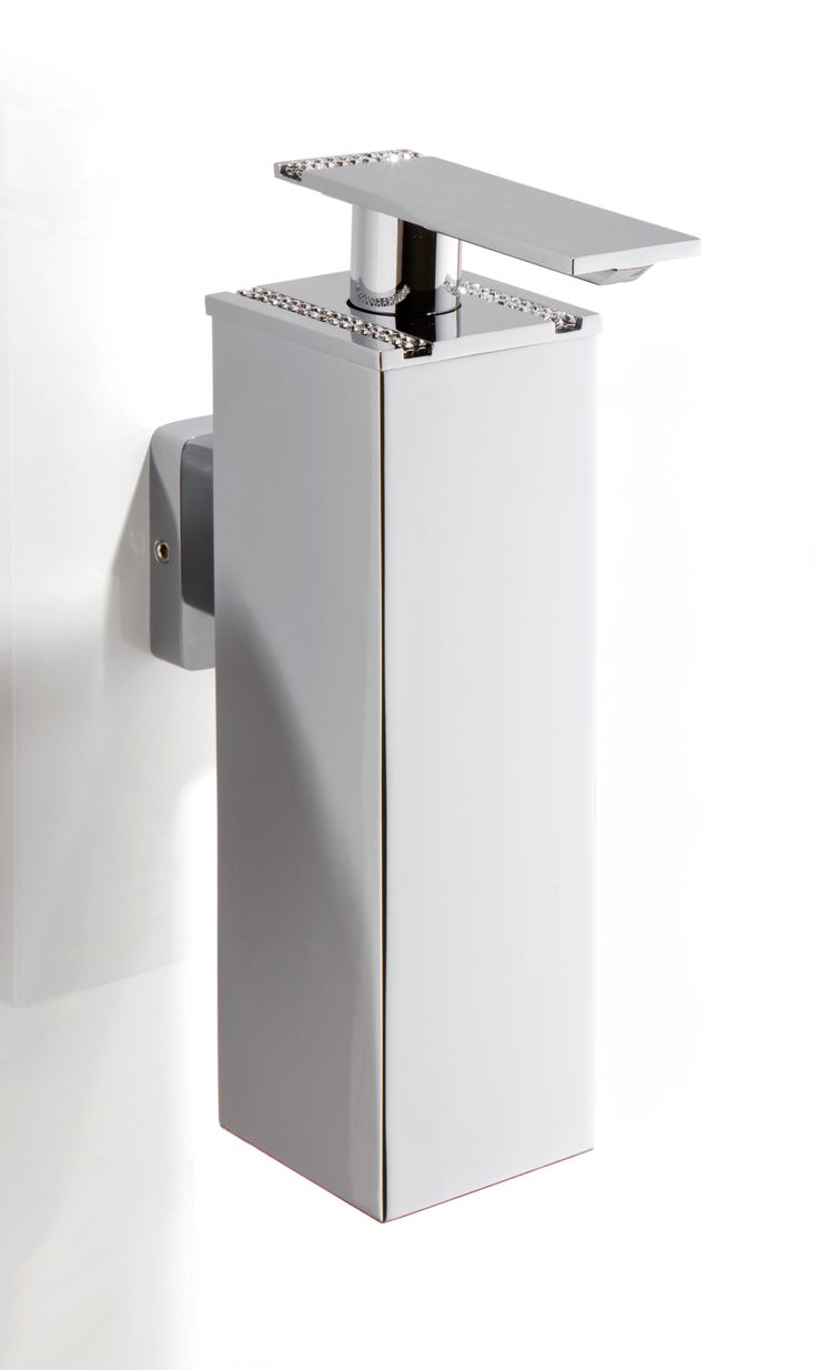 carmen wall soap dispenser with swarovski crystal inlay made in brass polished chrome designed