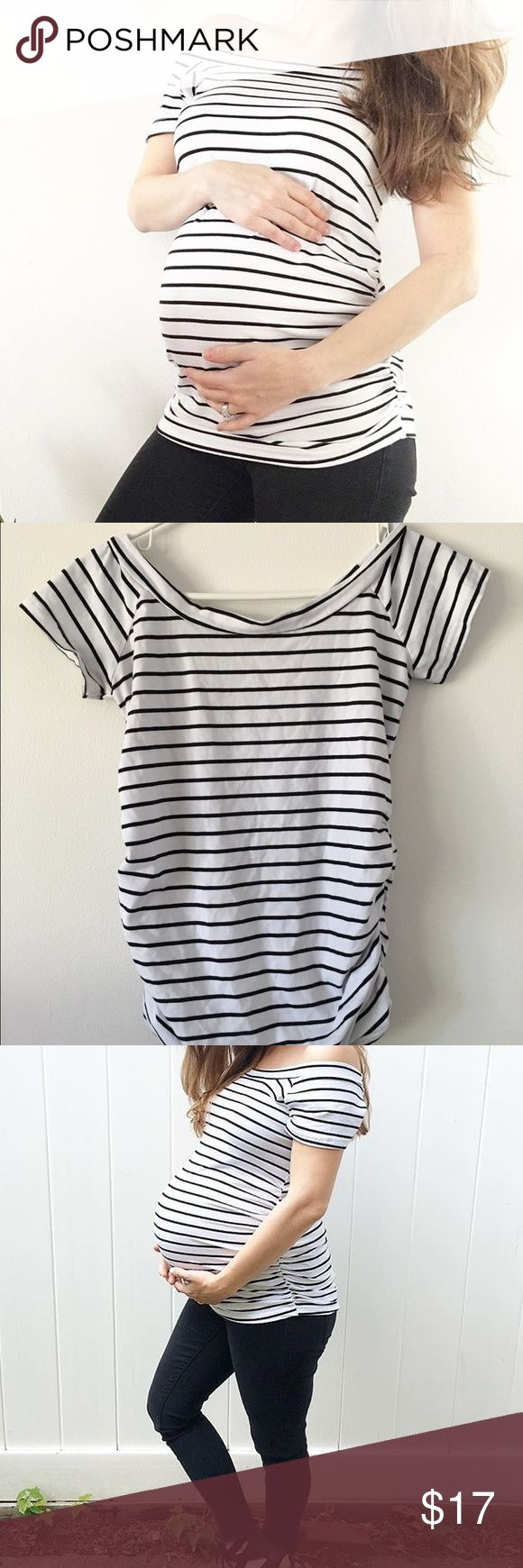 Off Shoulder Maternity Top Striped off the shoulder stretchy maternity top. Worn twice. Tops Tees - Short Sleeve