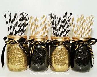 Birthday Decorations Mason Jar Centerpieces Black and by LimeAndCo