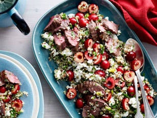 Cherry quinoa salad with lamb