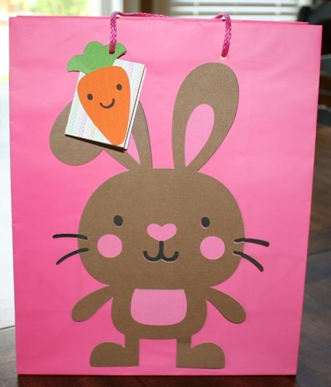 Decorated Gift Bag using Cricut Create a Critter cartridge and Joy's Life Lots of Pun Stamps