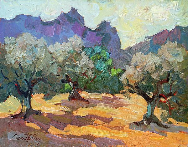 Saint Remy Olive Trees Painting  - Diane Mc CLary