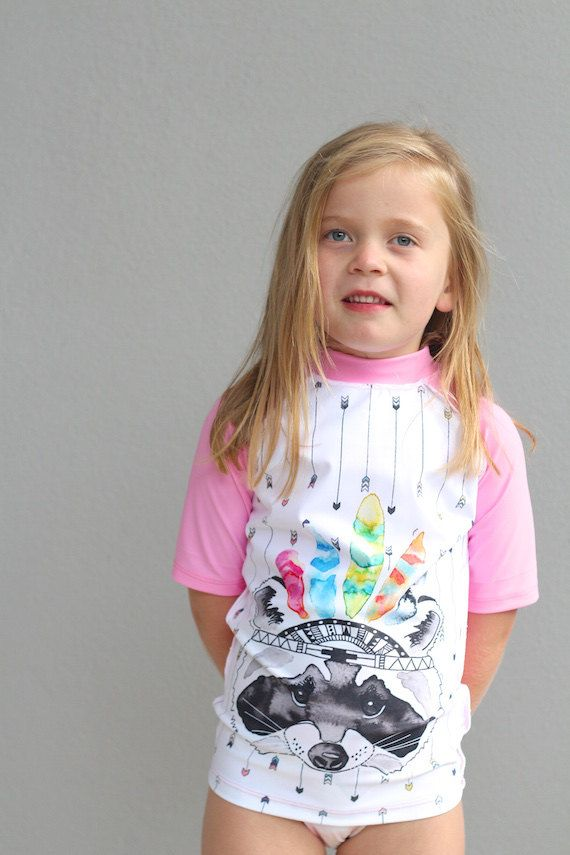 Girls Swimwear sublimated rash vest featuring tribal raccoon print. by LaLaLaDesigns on Etsy