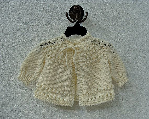 Hand Knitted Baby Sweater Cream by BibbiLousBounty on Etsy