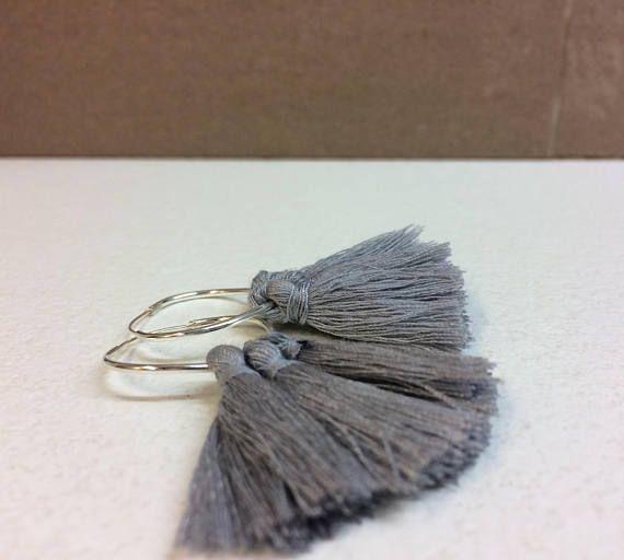 Tassel earrings/hoop tassel earring/silver hoop/grey
