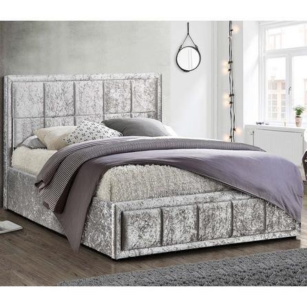 Hannover Steel Crushed Velvet Ottoman Bed