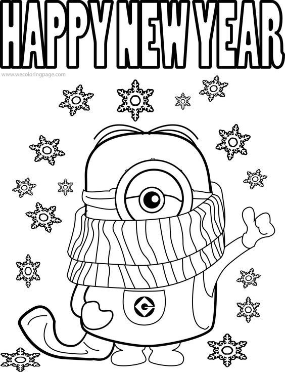 New Year 2019 Coloring Page Cartoon | New year coloring ...