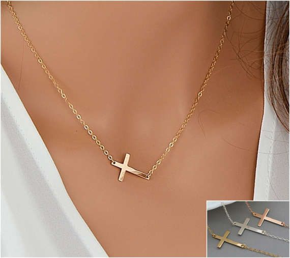 Sideways Cross Necklace, Gold Cross Necklace, Delicate Necklace, Simple Cross Necklace Silver, Rose Gold Cross by goldenbijoux. Explore more products on http://goldenbijoux.etsy.com
