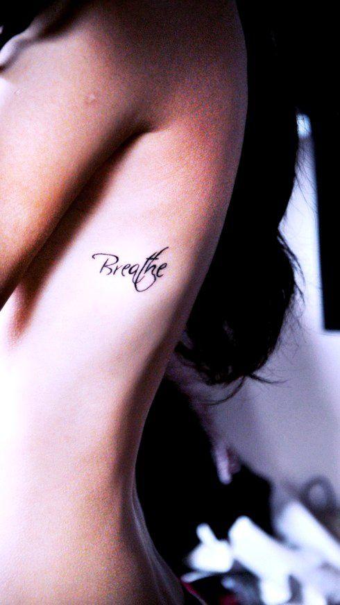 Breathe Rib Quote Tattoos for Girls - Hot Rib Quote Tattoos for Girls