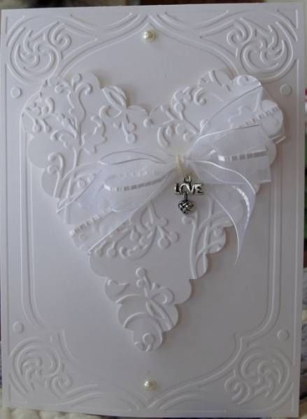 White on whiteEmbossing Cards, Wedding Cards, White Heart, Pretty Wedding, Cards Valentine, Wedding Invitations, White Cards, Anniversaries Cards, Paper Crafts