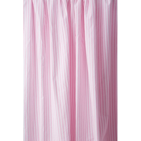 ticking pink shower curtain
