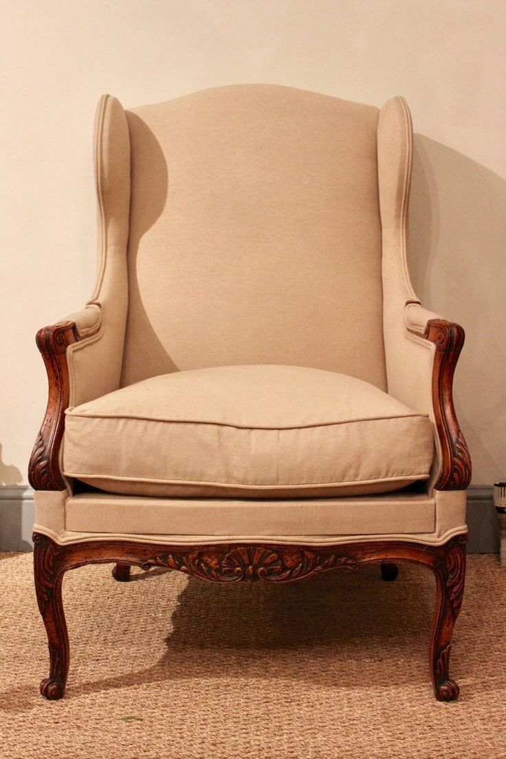 Pair of french antique arm chairs pair of antique wing back chairs - A Good Quality Century French Wing Armchair In Walnut With A Good Colour Reupholstered In A Sand Colour Fabric