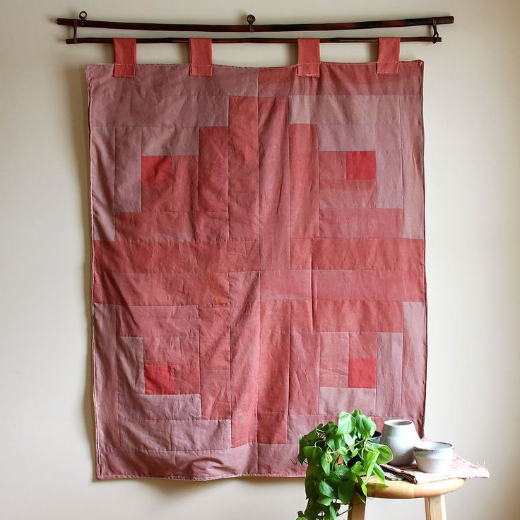 A one of a kind wall hanging made of leftover pieces from dip dye jackets. Wall hanging are one way I make use of my remnants. Madder root and quebracho were used in this piece to make pinks, reds and corals.