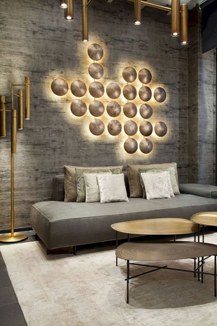 White Rug Grey Gold Lights Wall Installation Wallpaper Accent Wall Grey Sofa In 2020 Accent Walls In Living Room Wallpaper Living Room Gold Wallpaper Living Room #wallpaper #for #living #room #accent #wall