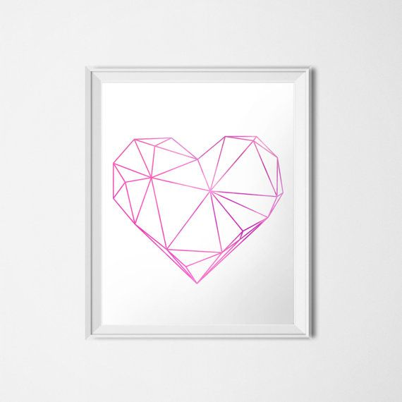 Geometric Heart, Instant Download,  Printable Art, Purple Pink Heart, Love Print, Modern Decor, Valentine's Day Art, 16 x 20 Poster