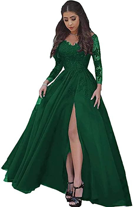 b2a5699902 Women Sexy High Slit Lace Tulle Prom Dresses Formal Ball Gown 2019 with  Long Sleeves Emerald