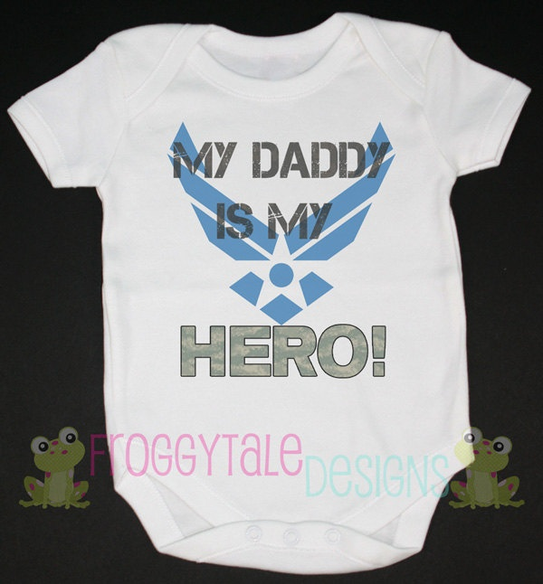 Air Force My Daddy is My HERO Bodysuit Onesie- Military For Little Baby Girls or Boys- Adorable Deployment and Coming Home Outfit. $13.95, via Etsy.