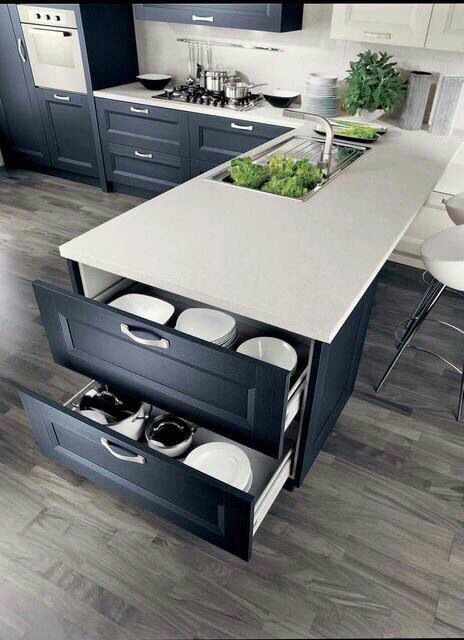 Breakfast counter, end drawers.