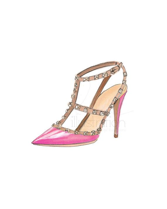 Studded print illustration pink by H.Nichols - This is a beautiful illustration of a studded shoe.