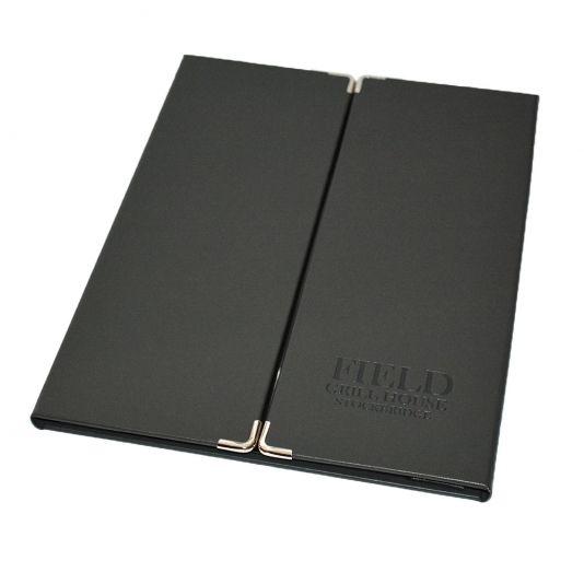 Bonded Leather Gate Fold Menu Cover. The Smart Marketing Group - Casino themed Restaurant menu presentation. Blackjack menu presentation products for hospitality.