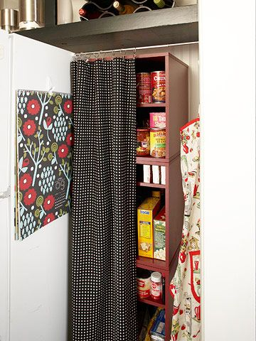 for a pantry-less kitchen.: Bookcases Work, Kitchens, Curtains Rods, Food, Pantries Spaces, Pantries Ideas, Houses Ideas, Close Curtains, Storage