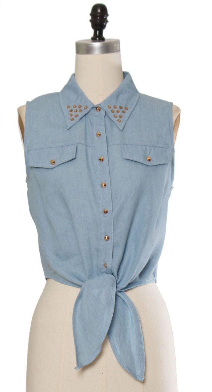 Trendy & Cute Clothing - Ya Los Angeles - Denim Stud Crop Top - chloelovescharlie.com   $37.00
