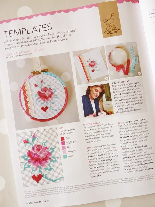 Eline Pellinkhof: Cross stitch rose in Mollie Makes