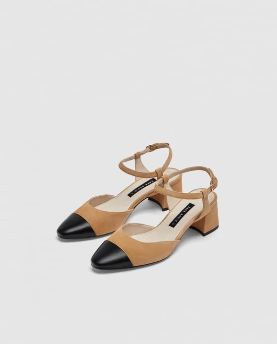 Image 1 of COMBINED MID-HEEL LEATHER SLINGBACK SHOES from Zara