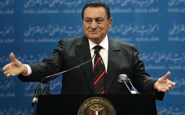 Egypt's former President Hosni Mubarak delivers a speech in Cairo, Egypt, in this file photo dated Saturday, Nov. 1, 2008. (AP Photo/Nasser Nasser, file)